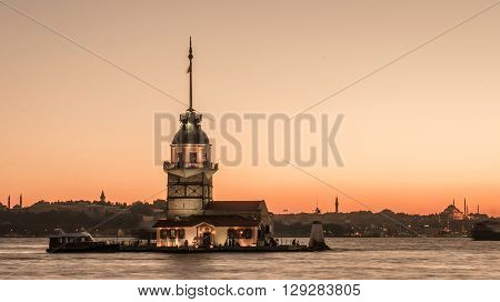 Istanbul, Turkey, September 23, 2012: A view of the Maiden's Tower also known as Leander's Tower as seen from Uskudar in Istanbul. The Maiden's Tower is a tower lying on a small islet located at the southern entrance of the Bosphorus strait 200 m (220 yd)