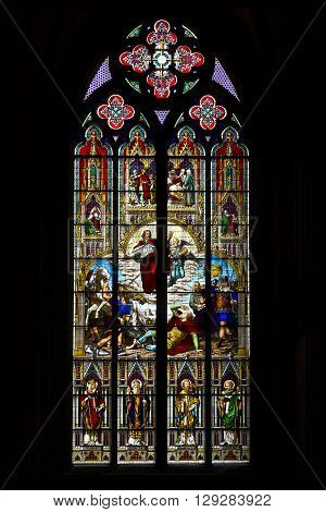Cologne, Germany - May 16 2013: This is one of the stained glass windows of the Cologne Cathedral May 16, 2013 in Cologne, Germany.