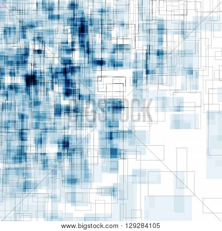 Bright blue grunge geometric backround with squares. Abstract vector tech graphic design