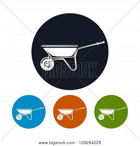Wheelbarrow Icon, Four Types of Colorful Round Icons Wheelbarrow , Agricultural Tool  , Garden and Carpentery  Equipment,  Vector Illustration
