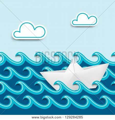 Paper boat on paper waves, nautical cartoon scenery. Vector illustration.