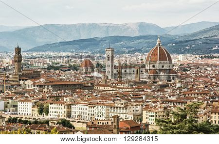 Florence (Italian: Firenze alternative obsolete form: Fiorenza; Latin: Florentia) is the capital city of the Italian region of Tuscany and of the province of Florence. Travel destination. Beautiful historic urban scene.