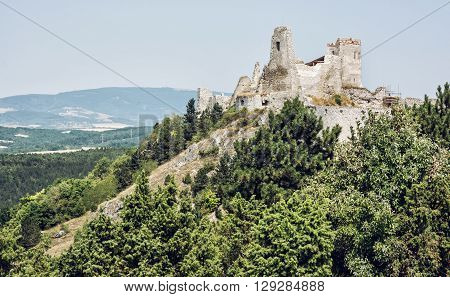 Ruins of the Cachtice castle Slovak republic central Europe. Seat of bloody countess. Travel destination.