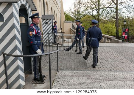 PRAGUE, CZECH REPUBLIC - APRIL 28, 2016: Changing of the guards of Prague Castle. Its main task is to guard and defend the seat of the President of the Czech Republic at the Prague Castle