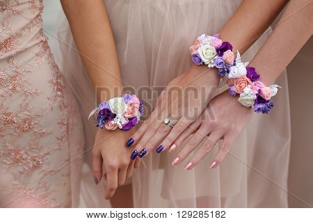 Bride And Bridesmaid Hands Details
