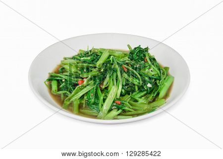 Stir Fried Water Spinach or pak boong fai daeng isolated