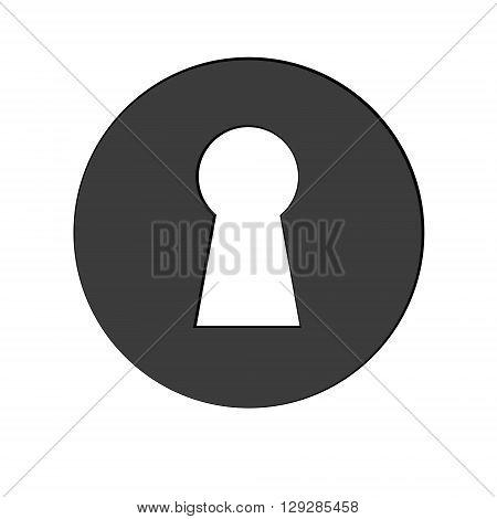 Black keyhole icon Isolated on a White Background