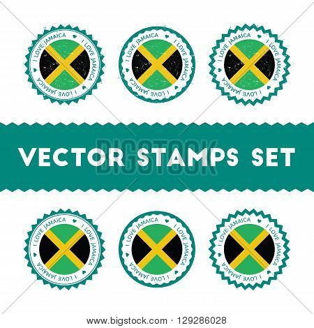 I Love Jamaica Vector Stamps Set. Retro Patriotic Country Flag Badges. National Flags Vintage Round