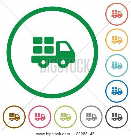 Set of transport color round outlined flat icons on white background