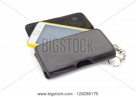 mobile phone with black casing on white background