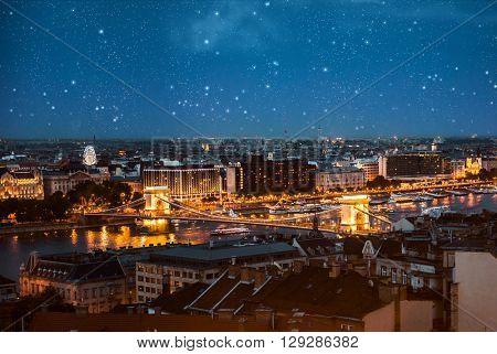 amazing night view on illuminated Chain bridge in Budapest aerial photo