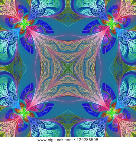 Multicolored flower pattern in stained-glass window style. You can use it for invitations notebook covers phone case postcards cards wallpapers and so on. Artwork for creative design art and entertainment.