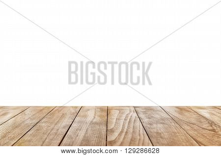 Wooden Table Isolated Over White Background