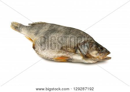 Dry dried fish isolated on white background. horizontal photo.
