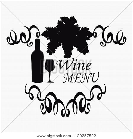 Graphically calligraphic emblem for the wine menu. Vector illustration Logo for restaurant wine