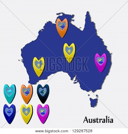 Vector illustration of the map of Australia. Weather in Australia. Set of signs with weather map
