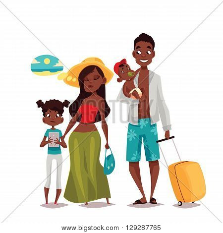 African Family on vacation, vector cartoon comic illustration of four people on a white background, traveling and vacationing African family with luggage and children, four people
