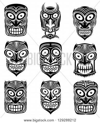 indian tribal skull totem mascot tattoo illustration