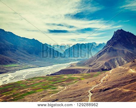 Vintage retro effect filtered hipster style image of Spiti valley and Spiti river in Himalayas. Spiti valley, Himachal Pradesh, India