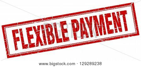 flexible payment red grunge square stamp on white