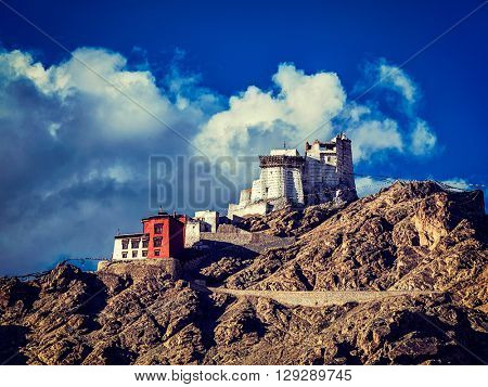 Vintage retro effect filtered hipster style image of Namgyal Tsemo gompa and fort. Leh, Ladakh, Jammu and Kashmir, India