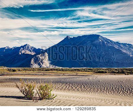 Vintage retro effect filtered hipster style image of sand dunes in Nubra valley in Himalayas. Hunder, Nubra valley, Ladakh