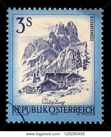 ZAGREB, CROATIA - SEPTEMBER 13: A stamp printed in Austria shows Bishofsmutze, from the series Sights in Austria, circa 1974, on September 13, 2014, Zagreb, Croatia