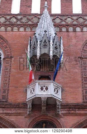 BOLOGNA, ITALY - JUNE 04: Medieval palace of the merchandise or loggia of the merchants in Bologna, Italy, on June 04, 2015