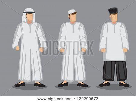 Vector illustration of three Muslim men in different traditional costumes and headwear isolated on grey background.