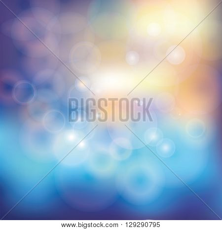 Abstract  blurred background with shiny bokeh.Vector science background, colored backdrop.Holiday, fabulous, summer, Christmas template.Beautiful lighting unfocused design , watercolor blur texture