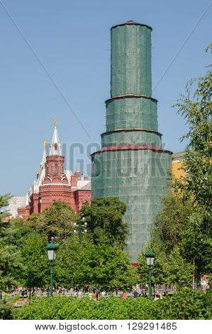 Moscow, Russia - August 11, 2015: Reconstruction Of One Of The Towers Of The Kremlin Wall In Moscow