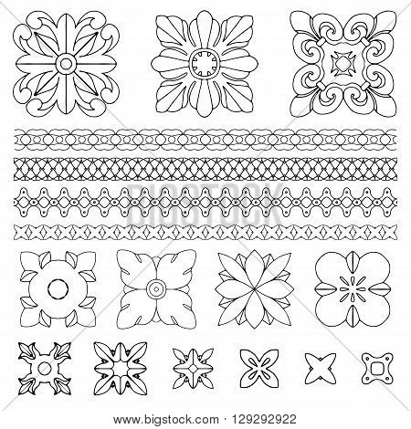 Set of square rosette design elements on white background. Handdrawn vector illustration