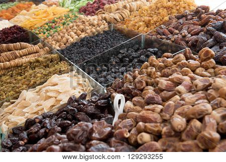 Dried fruit for sale in the spice souk at Deira. UAE Dubai