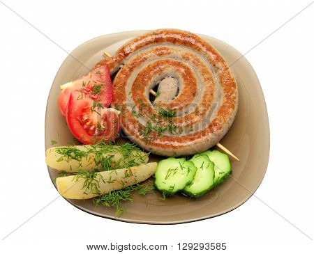 grilled sausages with vegetables and dill on a plate close-up. white background - horizontal photo.
