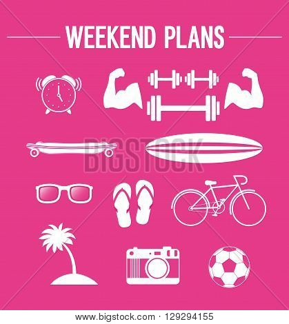 Weekend plans. Creative active lifestyle. Vector illustration.