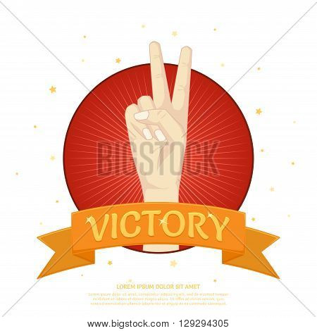 Victory label with two fingers from the palm. Winner banner in cartoon style. Vector illustration isolated on white background.
