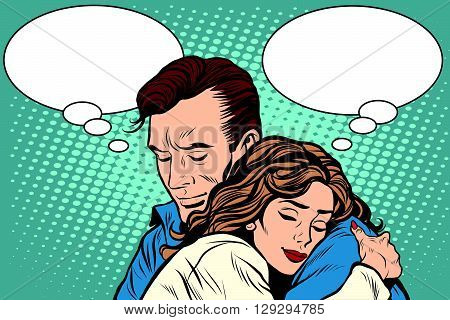 couple man and woman love hug pop art retro style. Retro people vector illustration. Feelings emotions romance