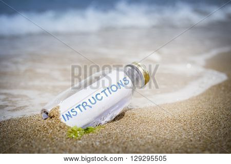Instructions Concept Of Message In A Bottle
