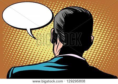 Male back comic bubble conversation communication pop art retro style. Retro male. Male back view. Stand back