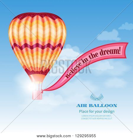 Hot air balloon with ribbon on background of cloudy sky.Concept dream design