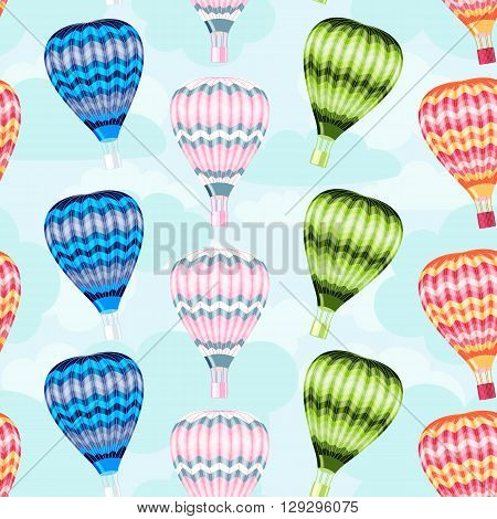 seamless pattern hot air balloon on background of cloudy sky