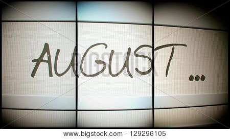 3d rednering of August month on digital monitor