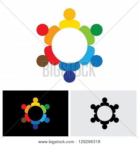 Employees Business Meeting Or Brainstorming - Vector Logo Icon.