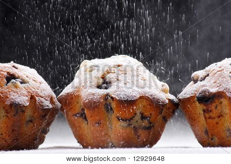 Blueberry muffins with caster sugar