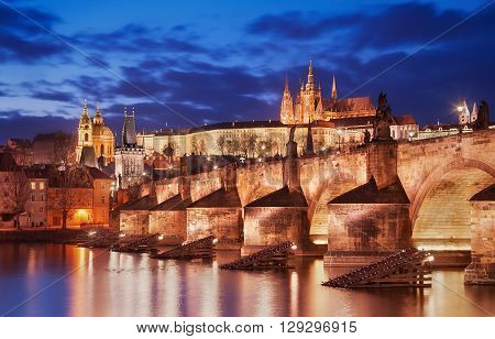 Charles bridge and St. Vitus cathedral view during sunset Prague Czech republic