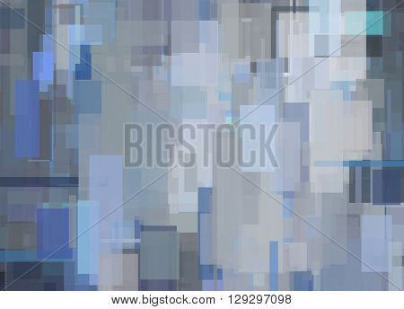 Gray Blue Abstract Geometric Painting