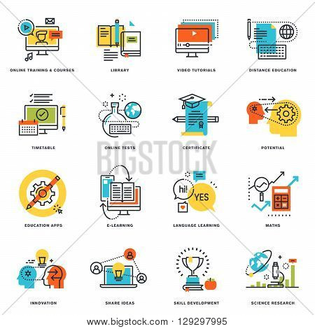 Set of flat line design icons of online education and e-learning. Vector illustration concepts for graphic and web design and development, isolated on white.