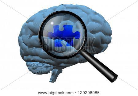 Brain Puzzle 3D Render