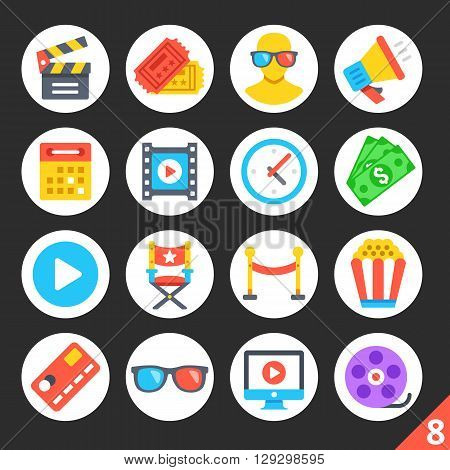 Round flat icons for web sites, mobile apps, web banners, infographics. High quality design illustrations. Entertainment, cinema, movie production, cinema concepts. Modern vector icons set 8