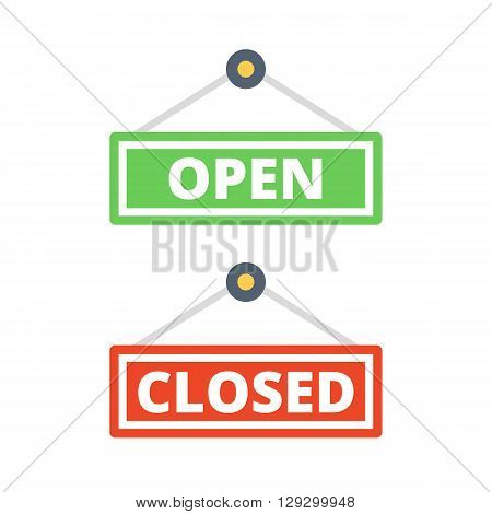 Open door sign and closed door sign set. Vector illustration isolated on white background